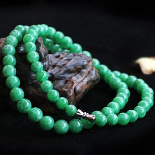 天然缅甸翡翠A货糯种满翠项链