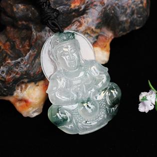 天然缅甸翡翠A货冰种飘蓝花观音